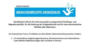 """Politische Forderungen des Bündnisses """"Menschenrechte grenzenlos"""""""