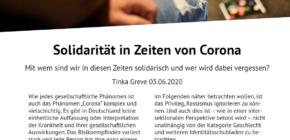 Artikel: Solidarität in Zeiten von Corona